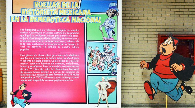 """Exposición """"Huellas de la historieta mexicana en la Hemeroteca Nacional""""."""