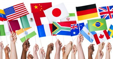 Manos con símbolos de las banderas