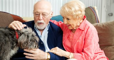 Pareja de adultos mayores sentados en un sillón cargan en sus brazos a su mascota